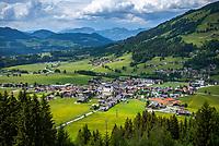 Austria, Tyrol, Westendorf (Tyrol): Hiking Village at Brixen Valley with parish church St Nicolas   Oesterreich, Tirol, Westendorf (Tirol): Wanderdorf im Brixental mit Pfarrkirche St. Nikolaus