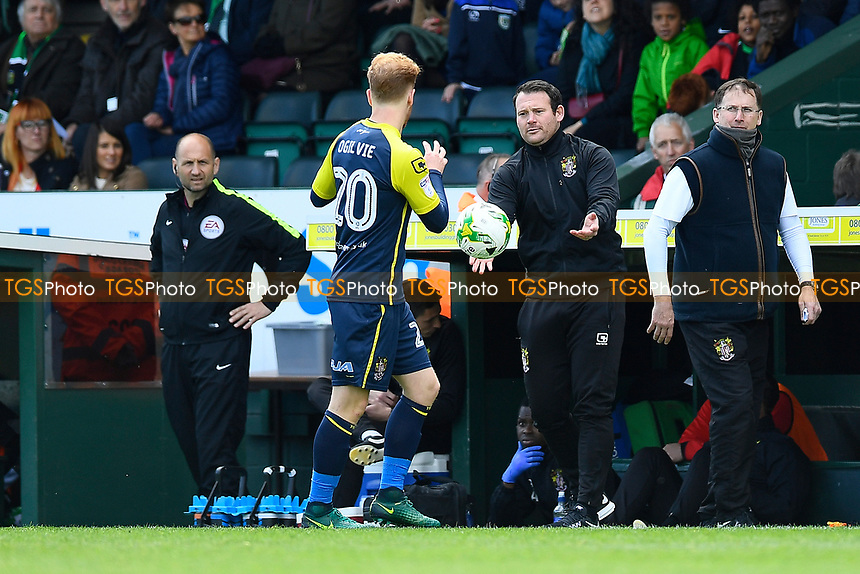 Stevenage Manager Darren Sarll shows his ball skills during Yeovil Town vs Stevenage, Sky Bet EFL League 2 Football at Huish Park on 29th April 2017
