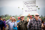 JUNE 20: Backstretch workers rally at Santa Anita Park to show how many lives are impacted by the horse racing industry in California in Arcadia, California on June 20, 2019. Evers/Eclipse Sportswire/CSM