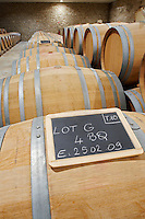 chalk board barrel aging cellar chateau reysson haut medoc bordeaux france