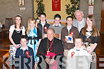 On Thursday the children from Killury National School, Causeway, were confirmed by Bishop Bill Murphy in St Peter & Pauls Church, Ballyduff. Front l-r: Thomas Casey and Kevin Diggin. Back l-r: Mairead Fitzgerald, Shannon Clarke, Sean Leahy, Paul McGrath, Darren Leahy, Richard Casey (Principal) and Sarah Murphy..