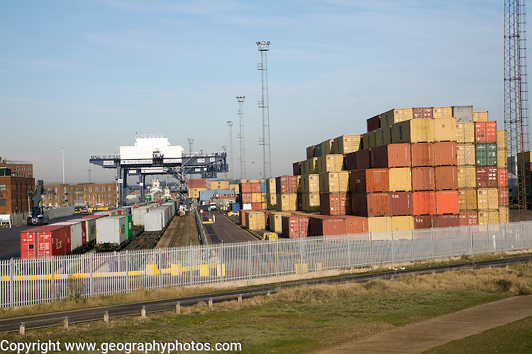 Rail freight terminal and containers, Port of Felixstowe, Suffolk, England