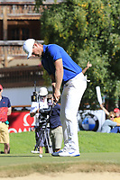 Lucas Bjerregaard (DEN) putts on the 16th green during Sunday's Final Round 4 of the 2018 Omega European Masters, held at the Golf Club Crans-Sur-Sierre, Crans Montana, Switzerland. 9th September 2018.<br /> Picture: Eoin Clarke | Golffile<br /> <br /> <br /> All photos usage must carry mandatory copyright credit (© Golffile | Eoin Clarke)