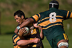 "T Nahi is tackled high by Manoa Lesavua. CMRFU Counties Power ""Game of the Week' between Bombay & Pukekohe played at Bombay on Saturday 17th May 2008..Pukekohe led 15 - 0 at halftime & went on to win 42 - 5."
