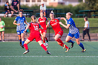 Boston, MA - Sunday September 10, 2017: Emily Sonnett, Amandine Henry and Natasha Dowie during a regular season National Women's Soccer League (NWSL) match between the Boston Breakers and Portland Thorns FC at Jordan Field.