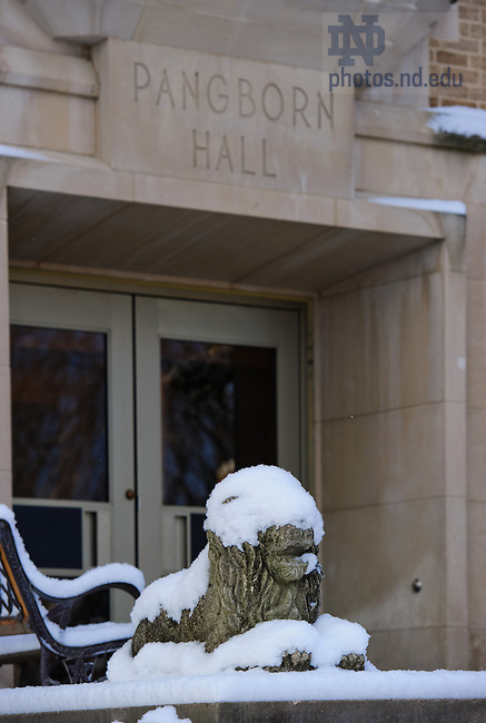 Mar. 21, 2013; Lion outside Pangborn Hall..Photo by Matt Cashore/University of Notre Dame