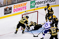 May 2, 2018: Boston Bruins defenseman Adam McQuaid (54) blocks the shot from Tampa Bay Lightning left wing Alex Killorn (17) as goaltender Tuukka Rask (40) is off his skates  during game three of the second round of the National Hockey League's Eastern Conference Stanley Cup playoffs between the Tampa Bay Lightning and the Boston Bruins held at TD Garden, in Boston, Mass. Tampa Bay defeats Boston 4-1. Eric Canha/CSM