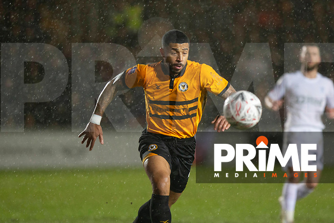 Joss Labadie of Newport County during the FA Cup 4th round replay match between Newport County and Middlesbrough at Rodney Parade, Newport, Wales on 5 February 2019. Photo by Mark  Hawkins / PRiME Media Images.