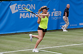 June 13th 2017, The Northern Lawn tennis Club, Manchester, England; ITF Womens tennis tournament; Magdalena Frech (POL) hits a backhand drive during her first round singles match against Harriet Dart (GBR); Frech won in three sets