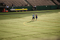 Seattle, WA - Sunday, September 24th, 2017: Laura Harvey and Vlatko Andonovski talk midfield prior to a regular season National Women's Soccer League (NWSL) match between the Seattle Reign FC and FC Kansas City at Memorial Stadium.