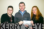 Presenting a Cheque from The Cahersiveen Panto group to the O'Connell Mermorial church restoration fund were: l-r Sasika Scholze, Fr Niall Howard and Shelia O'Connell-O'Neill.