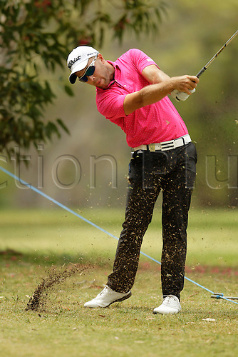 28.02.2016. Perth, Australia. ISPS HANDA Perth International Golf. Daniel Nisbet (AUS) plays out of the rough at the 4th after taking a penalty shot during his final round.