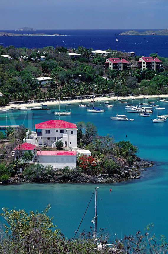 BOATS anchored in CRUZ BAY - ST. JOHN ISLAND, U.S. VIRGIN ISLANDS, CARIBBEAN
