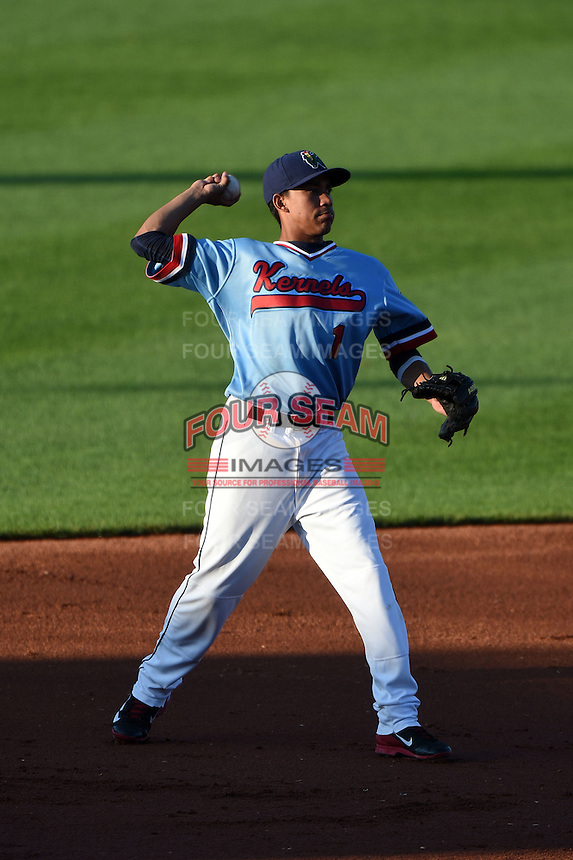 Cedar Rapids Kernels shortstop Engelb Vielma (1) throws to first during a game against the Quad Cities River Bandits on August 19, 2014 at Perfect Game Field at Veterans Memorial Stadium in Cedar Rapids, Iowa.  Cedar Rapids defeated Quad Cities 5-3.  (Mike Janes/Four Seam Images)