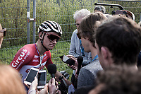 Mathieu Van der Poel (NED/Corendon Circus) post race interview after finishing 4th place<br /> <br /> 103rd Ronde van Vlaanderen 2019<br /> One day race from Antwerp to Oudenaarde (BEL/270km)<br /> <br /> ©kramon