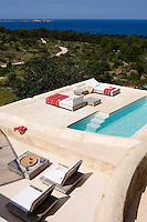 The swimming pool is situated at one end of a series of terraces with stunning views of the surrounding countryside and the sea beyond