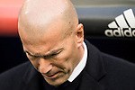 Coach Zinedine Zidane of Real Madrid prior to the La Liga 2016-17 match between Real Madrid and Malaga CF at the Estadio Santiago Bernabéu on 21 January 2017 in Madrid, Spain. Photo by Diego Gonzalez Souto / Power Sport Images