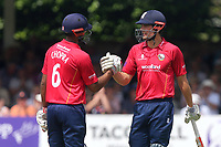 Varun Chopra (L) congratulates Alastair Cook on his fifty during Essex Eagles vs Notts Outlaws, Royal London One-Day Cup Semi-Final Cricket at The Cloudfm County Ground on 16th June 2017