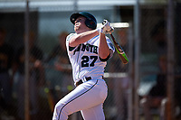 Dartmouth Big Green first baseman Michael Ketchmark (27) at bat during a game against the Iowa Hawkeyes on February 27, 2016 at South Charlotte Regional Park in Punta Gorda, Florida.  Iowa defeated Dartmouth 4-1.  (Mike Janes/Four Seam Images)