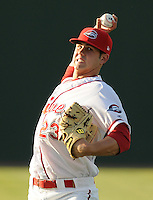 April 28, 2009: RHP Casey Kelly (23) of the Greenville Drive, Class A affiliate of the Boston Red Sox, in a game against the Savannah Sand Gnats at Fluor Field at the West End in Greenville, S.C. Kelly picked up the win and stands 3-0 with a 0.90 ERA. Photo by: Tom Priddy/Four Seam Images