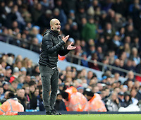 2nd November 2019; Etihad Stadium, Manchester, Lancashire, England; English Premier League Football, Manchester City versus Southampton; Manchester City manager Pep Guardiola urges on his players from the touchline - Strictly Editorial Use Only. No use with unauthorized audio, video, data, fixture lists, club/league logos or 'live' services. Online in-match use limited to 120 images, no video emulation. No use in betting, games or single club/league/player publications