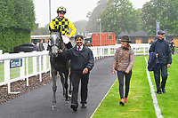 Winner of The Brunton Publications Pembroke Handicap Alfred Boucher ridden by David Probert and trained by Henry Candy is led into the Winner's enclosure during Horse Racing at Salisbury Racecourse on 14th August 2019