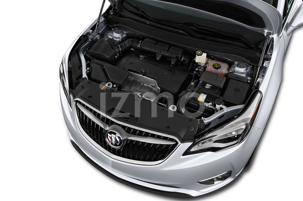 Car stock 2019 Buick Envision Preferred FWD 5 Door SUV engine high angle detail view