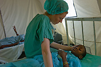 Port Au Prince, Haiti, Jan 27 2010.Emmanuel Dertimisse, 9, lost his right leg in the earthquake. MSF France has set up a 180 beds field hospital in Delmas 33, featuring two surgical units, it will operate for a year..