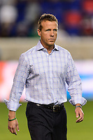 Philadelphia Union manager John Hackworth. The New York Red Bulls and the Philadelphia Union played to a 0-0 tie during a Major League Soccer (MLS) match at Red Bull Arena in Harrison, NJ, on August 17, 2013.