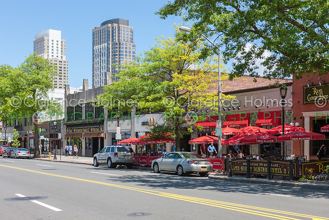 A view of the commercial district on Mamaroneck Avenue, with City Center in the background in downtown White Plains, New York.