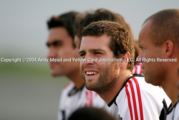 21 July 2004: Ben Olsen (center) watches the game from the bench. The Richmond Kickers of the A-League defeated DC United of Major League Soccer 2-1 at University of Richmond Stadium in Richmond, VA in a fourth round game in the 2004 Lamar Hunt U.S. Open Cup..