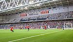 Stockholm 2014-07-31 Fotboll Europa League IF Brommapojkarna - Torino FC :  <br /> Vy &ouml;ver Tele2 Arena under matchen mellan Brommapojkarna och Torino med publik och tomma l&auml;ktarsektioner p&aring; ena l&aring;ngsidesl&auml;ktaren<br /> (Foto: Kenta J&ouml;nsson) Nyckelord:  BP Brommapojkarna IFB Tele2 Arena Europa League Torino FC TFC Italien Itay inomhus interi&ouml;r interior supporter fans publik supporters