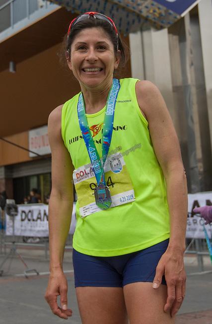 Marathon winner Ramona Sanchez during the Downtown River Run held in Reno, Nevada  on Sunday April 29, 2018.