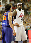 Spain's Victor Sada (l) and USA's LeBron James during friendly match.July 24,2012. (ALTERPHOTOS/Acero)