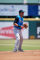 Tampa Tarpons shortstop Angel Aguilar (6) during a Florida State League game against the Bradenton Marauders on May 26, 2019 at LECOM Park in Bradenton, Florida.  Bradenton defeated Tampa 3-1.  (Mike Janes/Four Seam Images)