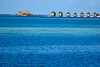 Resort bungalows over sea, Maldives.