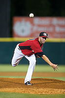 Hickory Crawdads relief pitcher Austin Pettibone (27) in action against the Savannah Sand Gnats at L.P. Frans Stadium on June 15, 2015 in Hickory, North Carolina.  The Crawdads defeated the Sand Gnats 4-1.  (Brian Westerholt/Four Seam Images)