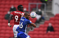 4th July 2020; Ashton Gate Stadium, Bristol, England; English Football League Championship Football, Bristol City versus Cardiff City; Curtis Nelson of Cardiff City competes in the air with Famara Diedhiou of Bristol City