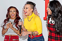 8th December 2012: English Pop group Stooshe appear at Clothes Show Live 2012 at the NEC, Birmingham, UK.(L-R) Karis Anderson, Courtney Rumbold, Alexandra Bugg. .