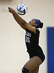 Marymount's Margaret McAlpin passes in a college volleyball game, in Arlington, Vir., on Saturday, Nov. 1, 2014.<br /> Photo by Cathleen Allison