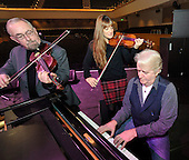 Celtic Connections 2014 photocall - pic shows concert violinist Nicola Benedetti with veteran Scottish musicians Phil Cunningham (on piano) and Aly Bain on the stage of the Glasgow Royal Concert Hall beginning their soundcheck for last nights (Thurs) Celtic Connections Opening Concert - the festival lasts for three weeks and involves some 2100 performers and 300 events across the city -- picture by Donald MacLeod - 16.01.14 – 07702 319 738 – clanmacleod@btinternet.com – www.donald-macleod.com