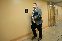 United States Senator Jon Tester (Democrat of Montana) walks through the Senate Subway during a cloture vote on a Coronavirus Stimulus Package at the United States Capitol in Washington D.C., U.S., on Monday, March 23, 2020.  Credit: Stefani Reynolds / CNP/AdMedia