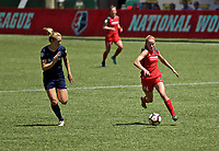 Portland, OR - Saturday July 15, 2017: Tyler Lussi, Samantha Mewis during a regular season National Women's Soccer League (NWSL) match between the Portland Thorns FC and the North Carolina Courage at Providence Park.