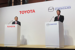 (L to R) Toyota Motor Corporation President Akio Toyoda and Mazda Motor Corporation President and CEO Masamichi Kogai, speak during a news conference at the Royal Park Hotel Tokyo on August 4, 2017, Tokyo, Japan. Toyoda and Kogai announced an alliance between the car makers; whereby they will invest in each other and plan to build a joint auto factory in the U.S. and cooperate in new technologies for electric vehicles.(Photo by Rodrigo Reyes Marin/AFLO)