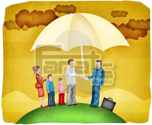 Family sheltering under an insurance cover umbrella