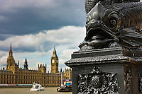 A view from the River Thames walkway across from Big Ben and the Houses of Parliament in London