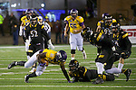 SALEM, VA - DECEMBER 16:  Wykeyhe Walker (11) of the University of Mary Hardin-Baylor makes a catch against AJ Plewa (7) of the University of Wisconsin-Oshkosh during the Division III Men's Football Championship held at Salem Stadium on December 16, 2016 in Salem, Virginia.   Mary Hardin-Baylor defeated the University of Wisconsin-Oshkosh 10-7 for the national title. (Photo by Don Petersen/NCAA Photos via Getty Images)
