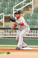 Greenville Drive first baseman Boss Moanaroa (29) waits for a throw during the South Atlantic League game against the Kannapolis Intimidators at CMC-Northeast Stadium on June 29, 2013 in Kannapolis, North Carolina.  The Intimidators defeated the Drive 9-3 in the completion of the game that began on June 28, 2013.   (Brian Westerholt/Four Seam Images)