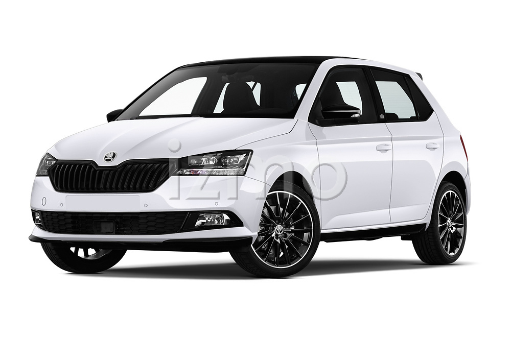 Stock pictures of low aggressive front three quarter view of a 2019 Skoda Fabia Monte Carlo 5 Door Hatchback