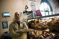 Owner Scott Rossillo of The Bagel Store on Bedford Avenue in Williamsburg, Brooklyn.